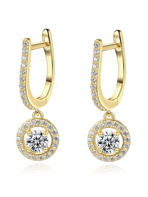 CCUI 925 Sterling Silver Cubic Zirconia Geometric Luxury Huggie Earring