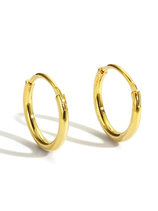 Gold Circle Earrings Brass Smooth Round Minimalist Hoop Earring