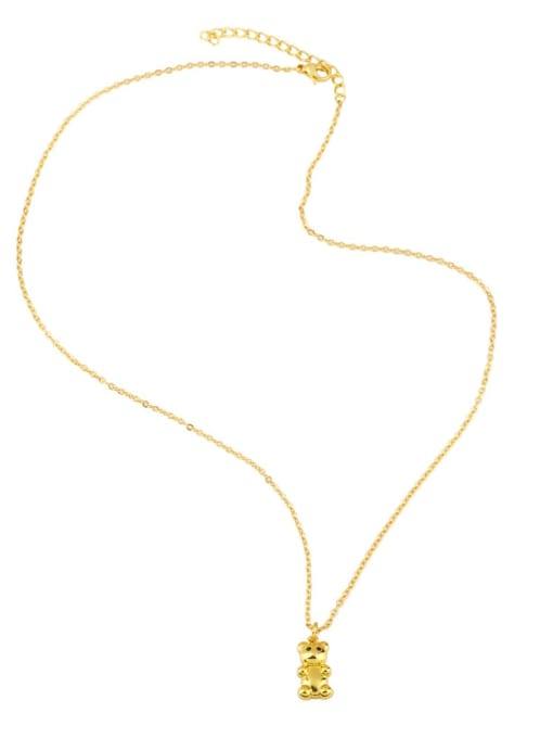CC Brass Icon Cute Little bear leopard head Pendant Necklace 3