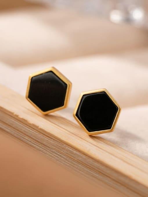 DEER 925 Sterling Silver Black Jade Geometric Minimalist Stud Earring
