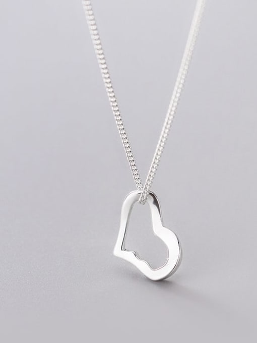 Rosh 925 Sterling Silver Hollow Heart Minimalist Necklace 3