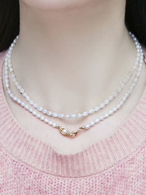 RAIN Brass Freshwater Pearl Round Vintage Multi Strand Necklace 1