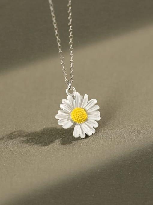 AI Fei Er 925 Sterling Silver Enamel Flower Minimalist Necklace 0