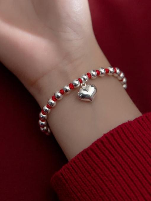 Rosh 925 Sterling Silver Bead Heart Vintage Beaded Bracelet 1
