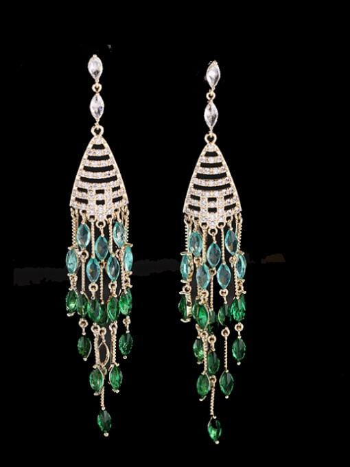 Luxu Brass Cubic Zirconia Tassel Ethnic Drop Earring 2