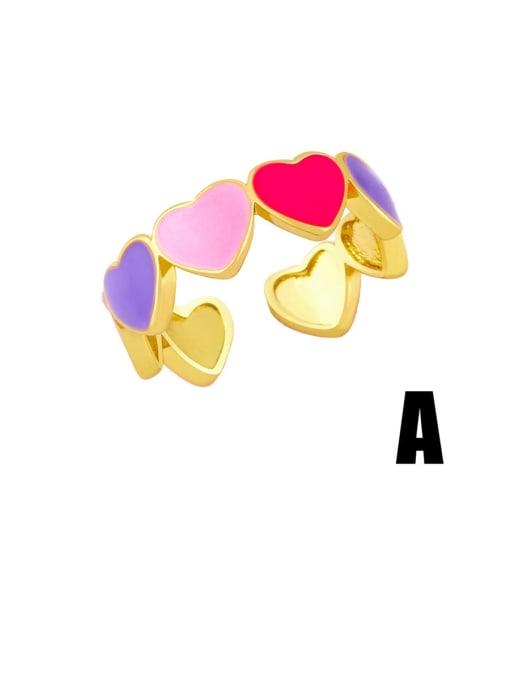 A Brass Enamel Heart Minimalist Band Ring