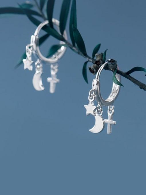 Rosh 925 Sterling Silver Minimalist Simple Pentagram Moon Cross Huggie Earring 2
