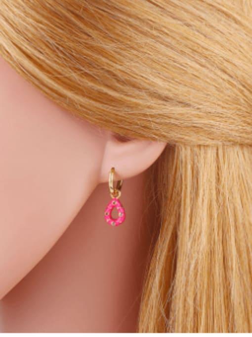 CC Brass Rhinestone Enamel Water Drop Vintage Huggie Earring 1