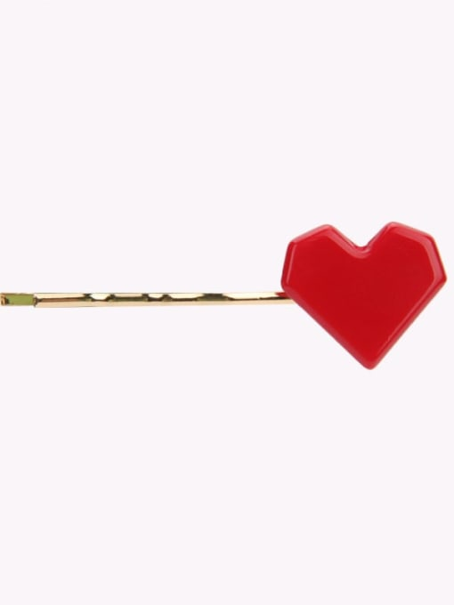 gules Alloy Cellulose Acetate Minimalist Heart  Hair Pin