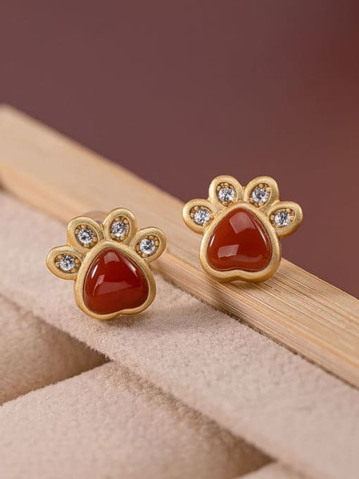 South Red (a pair) 925 Sterling Silver Jade Cat paw Cute Stud Earring