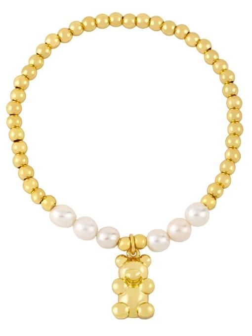 CC Brass Imitation Pearl Heart Vintage Beaded Bracelet 4