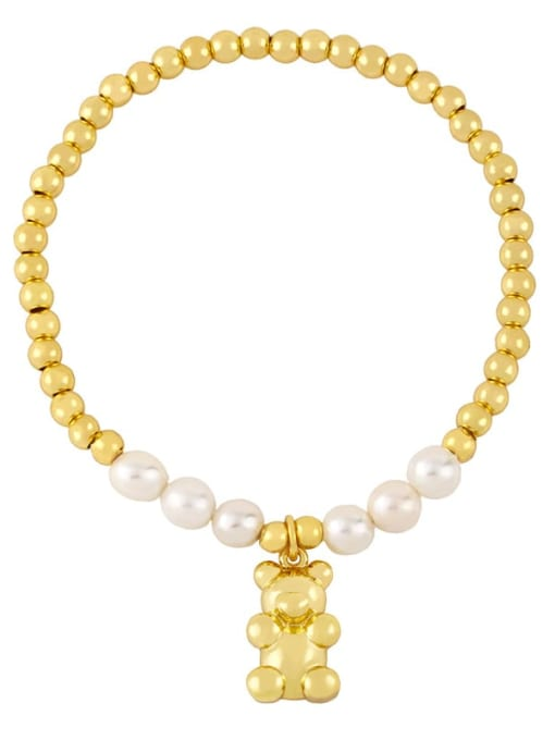 D Brass Imitation Pearl Heart Vintage Beaded Bracelet