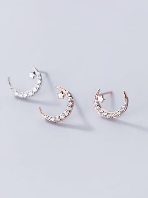 Rosh 925 Sterling Silver Rhinestone Moon Minimalist Stud Earring 2