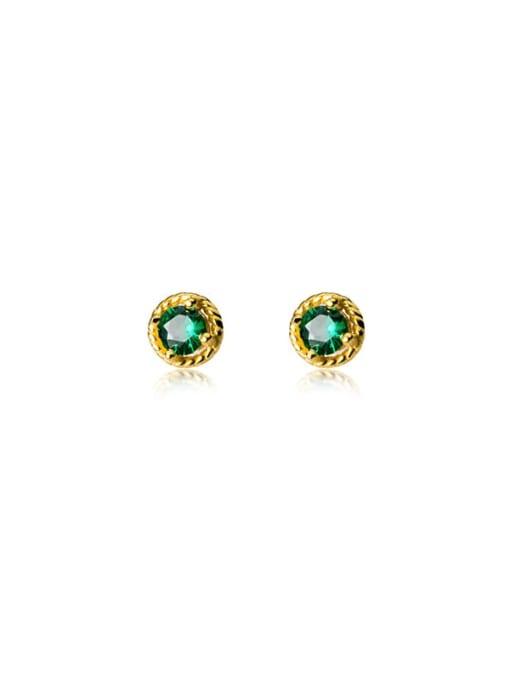 Rosh 925 Sterling Silver Glass Stone Round Minimalist Stud Earring