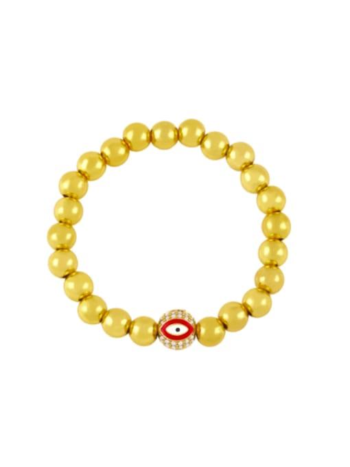 red Brass Rhinestone Enamel Evil Eye Vintage Beaded Bracelet