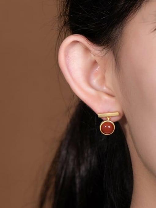 DEER 925 Sterling Silver Carnelian Geometric Minimalist Stud Earring 1