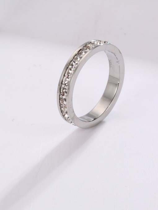 MIYA Titanium Steel Rhinestone Round Minimalist Stackable Ring 2