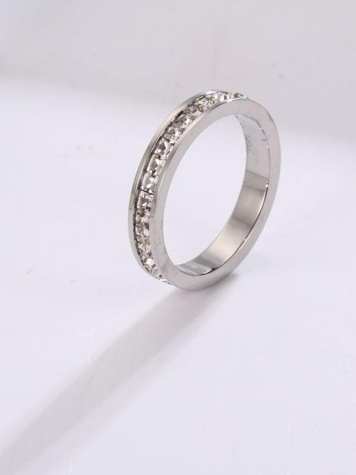 Steel color (single layer) Titanium Steel Rhinestone Round Minimalist Stackable Ring