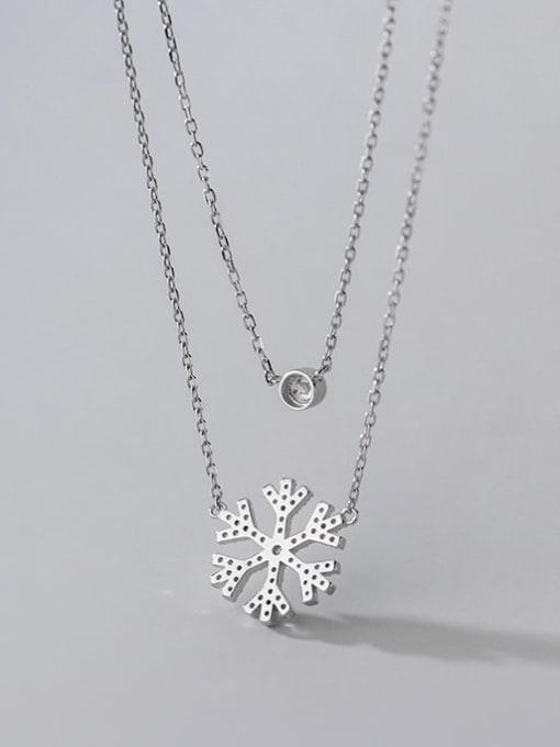 Rosh 925 Sterling Silver Cubic Zirconia Flower Minimalist Multi Strand Necklace 3