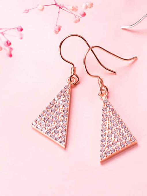 Rosh 925 Sterling Silver Cubic Zirconia Triangle Dainty Hook Earring 0
