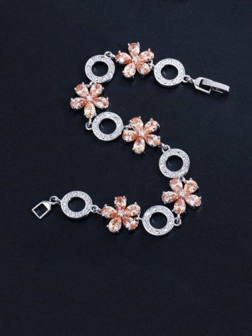 Champagne Brass Cubic Zirconia Flower Luxury Bracelet