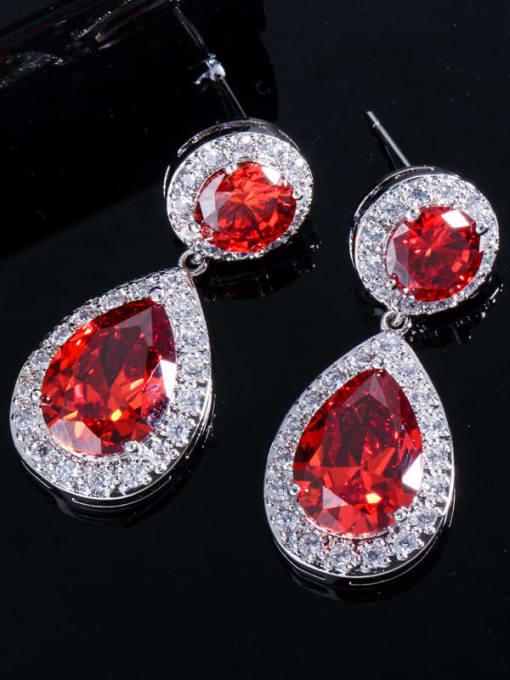 L.WIN Brass Cubic Zirconia Water Drop Luxury Drop Earring 3