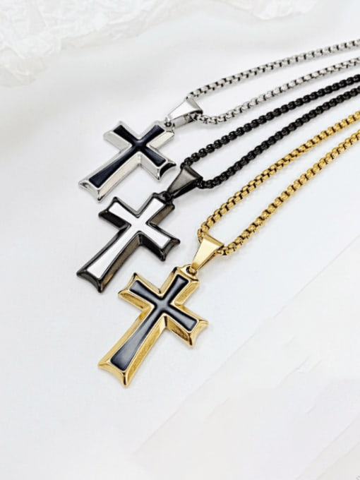 Open Sky Titanium Steel Enamel Cross Hip Hop Regligious Necklace