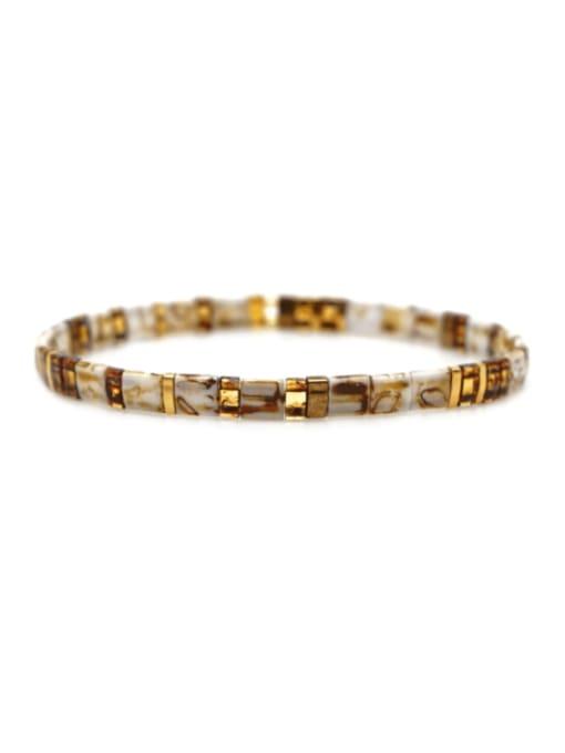 TL B190257D Stainless steel Tila Bead Geometric Bohemia Handmade Weave Bracelet