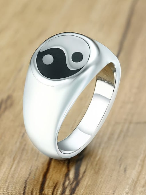 CONG Stainless steel Enamel Geometric Vintage Band Ring 3