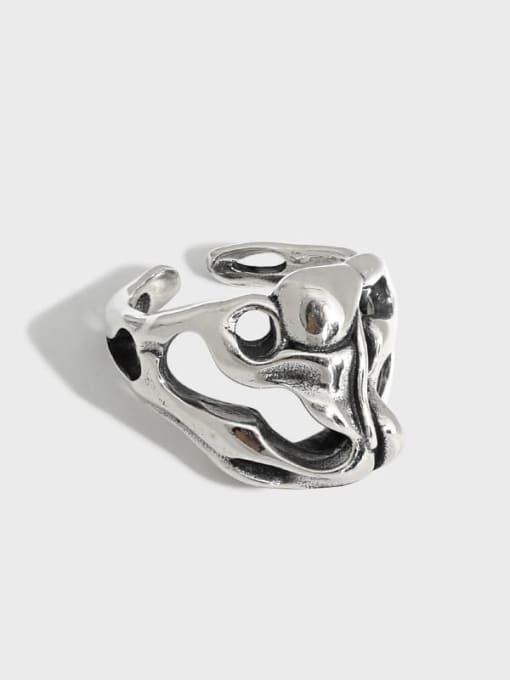 DAKA 925 Sterling Silver Hollow Skull Vintage Band Ring