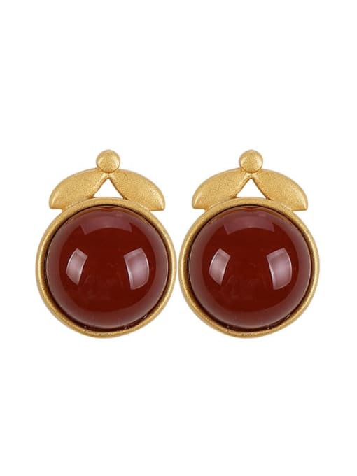 DEER 925 Sterling Silver Carnelian Geometric Cute Stud Earring 2