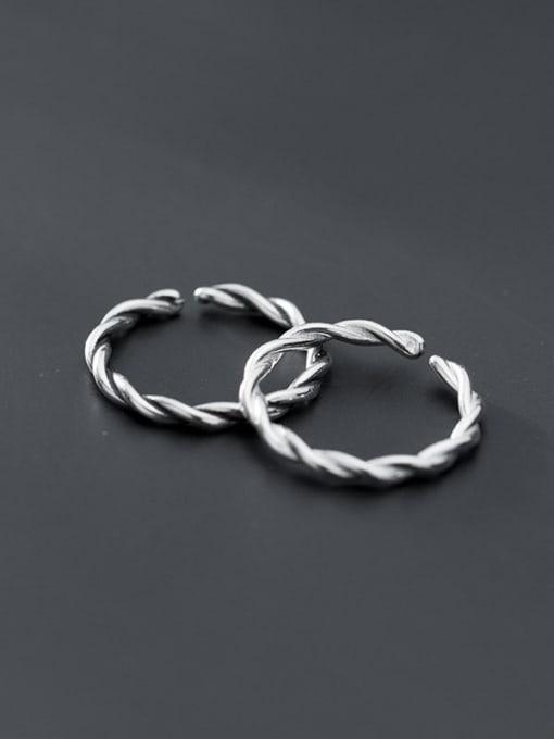 Rosh 925 Sterling Silver Twist Round Minimalist Band Ring 0
