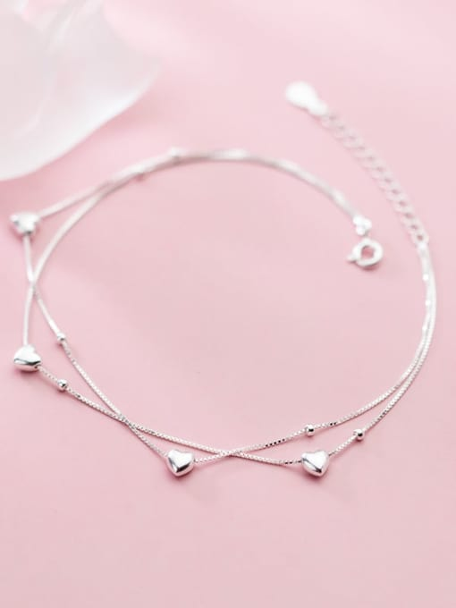Rosh 925 Sterling Silver Heart Minimalist Strand Bracelet 2