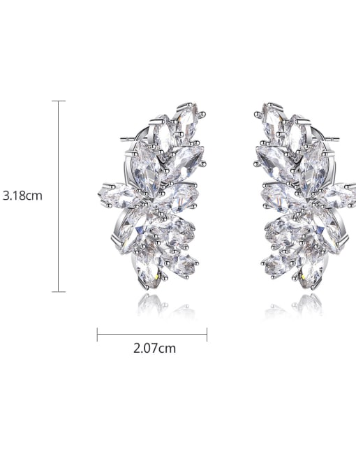 BLING SU Copper Cubic Zirconia Flower Luxury Cluster Earring 4