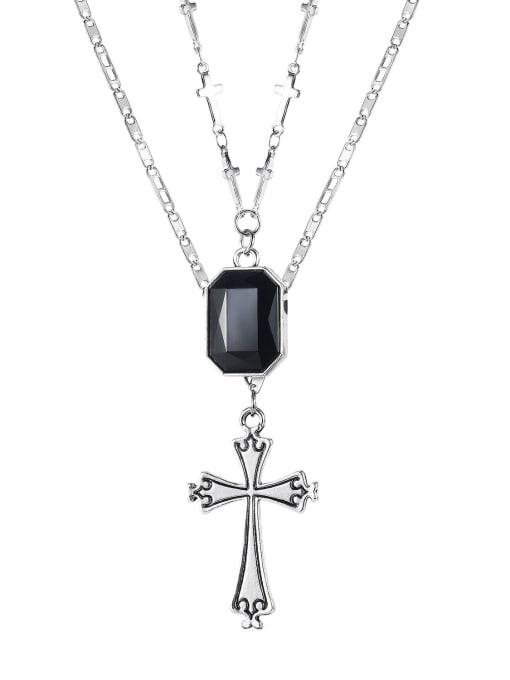Open Sky Titanium Steel Glass Stone Locket Vintage Multi Strand Necklace