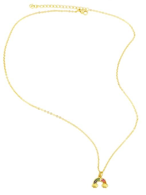 CC Brass Cubic Zirconia  Vintage Rainbow Pendant Necklace 3