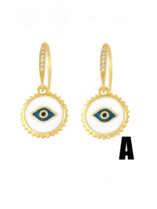 A (white eyes) Brass Enamel Crown Vintage Huggie Earring