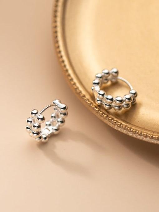Rosh 925 Sterling Silver Bead Feather Minimalist Stud Earring 1