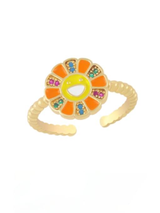 orange Brass Enamel Smiley Flower Minimalist Band Ring
