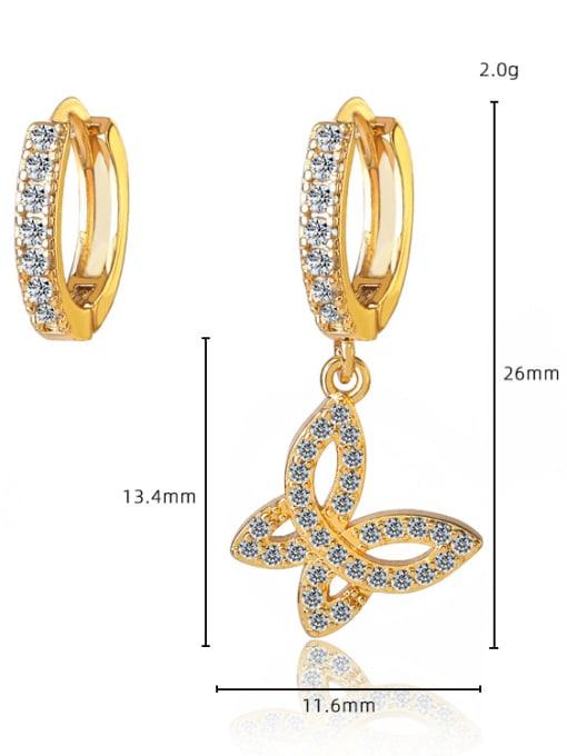 DUDU Brass Cubic Zirconia Butterfly Vintage Huggie Earring 2