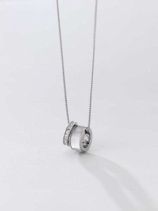 Rosh 925 Sterling Silver Shell Round Vintage Necklace 3