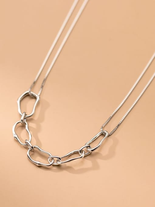 Rosh 925 Sterling Silver  Hollow Geometric Minimalist Necklace 2