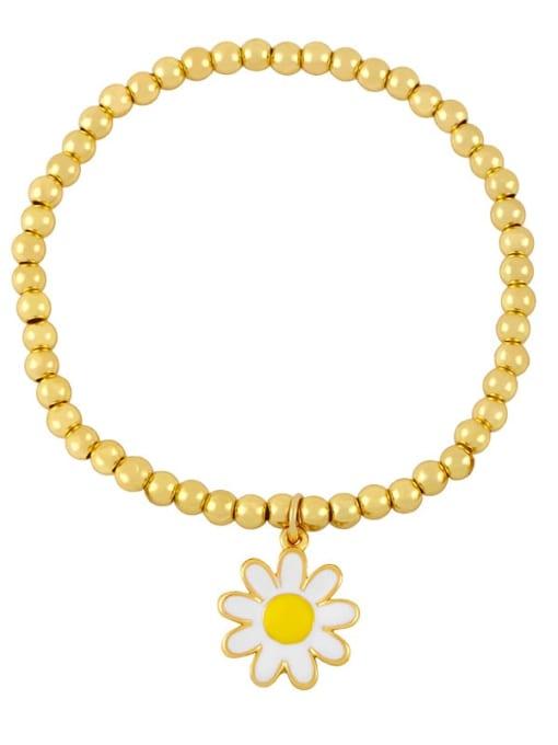 C (white flower) Brass Bead Enamel Flower Hip Hop Beaded Bracelet