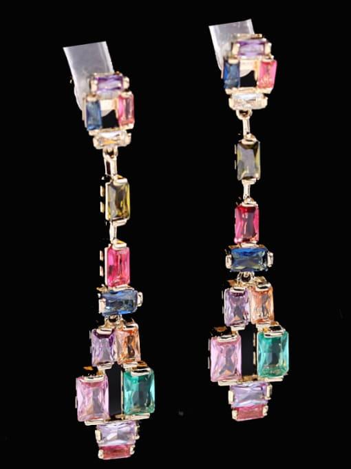 Luxu Brass Cubic Zirconia Geometric Luxury Drop Earring 0
