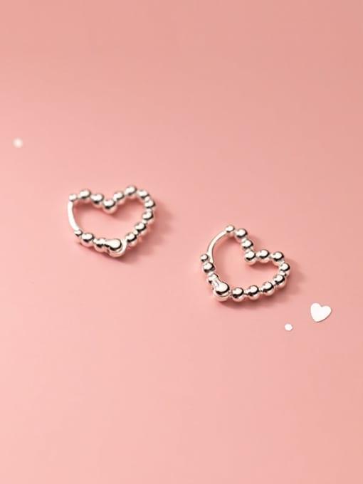 Rosh 925 Sterling Silver Bead Heart Minimalist Huggie Earring
