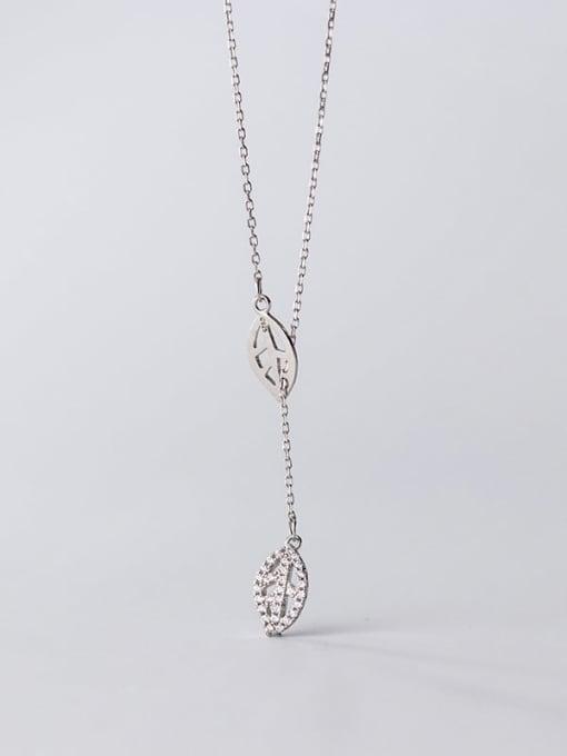 Rosh 925 Sterling Silver Cubic Zirconia Leaf Minimalist Lariat Necklace 4