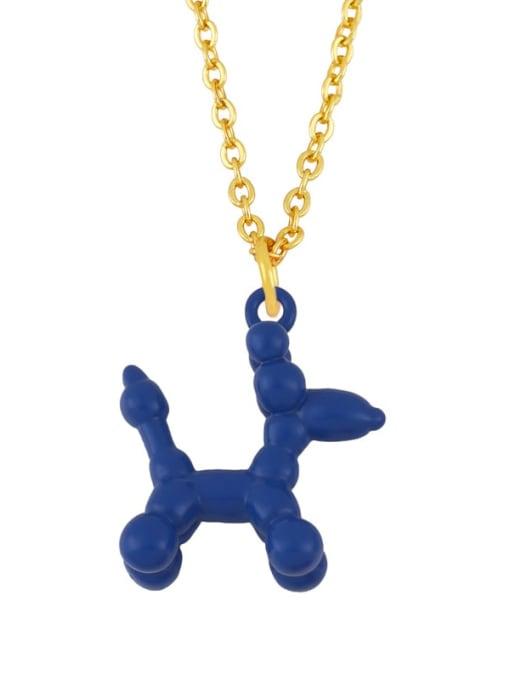 Navy Brass Enamel Cute Dog Pendant Necklace