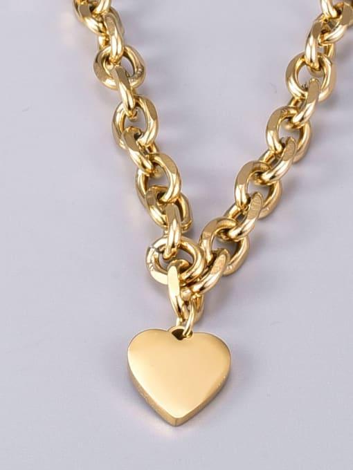 A TEEM Titanium Steel Heart Vintage Geometric  Chain Necklace 1
