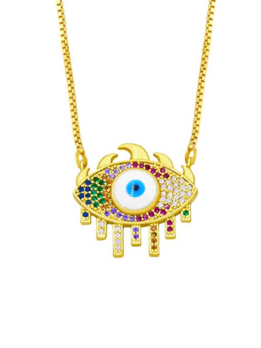 C Brass Cubic Zirconia Evil Eye Hip Hop Necklace