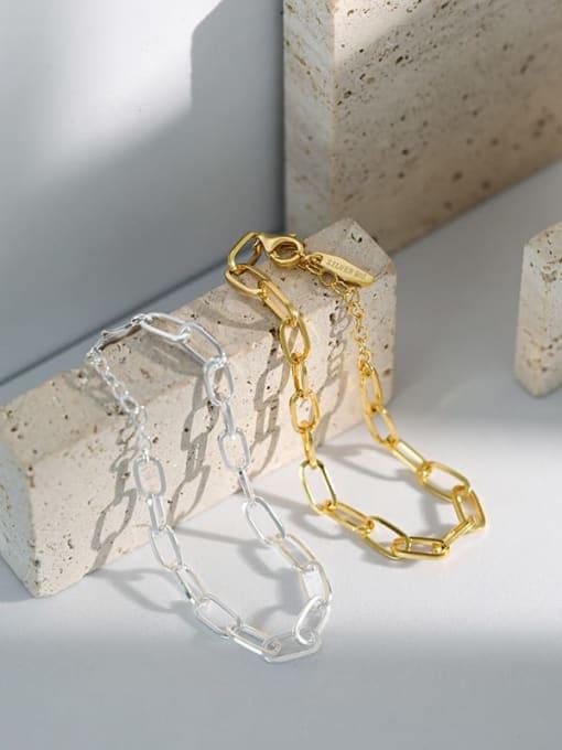 DAKA 925 Sterling Silver Hollow Geometric Chain Vintage Link Bracelet 1
